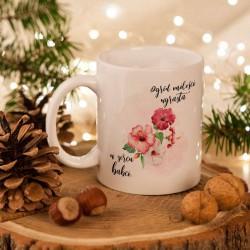 PREZENT na Dzień Babci kubek z Kwiatami 330ml Z IMIENIEM