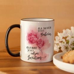 PREZENT na Dzień Babci kubek Kwiaty 330ml Z IMIENIEM