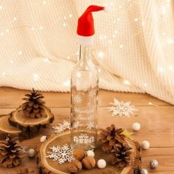 BUTELKA na nalewkę prezent świąteczny z czapeczką z nadrukiem Wesołych Świąt 500ml