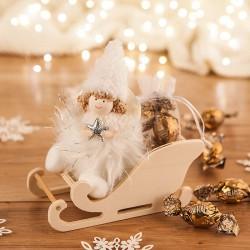 PREZENT świąteczny dla dziecka Aniołek z futerkiem na sankach Złamana Biel