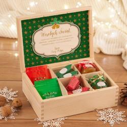 PREZENT świąteczny w skrzyni miód, herbata, krówki Zielone Święta Z PODPISEM
