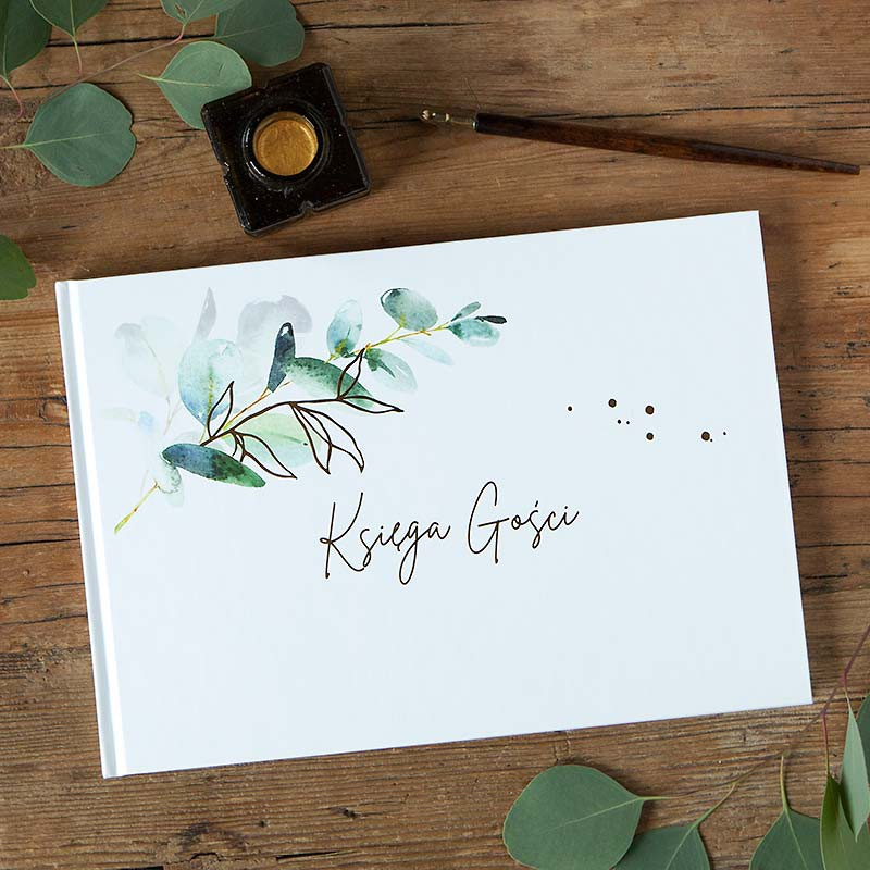 Księga gości botaniczna gałązka eukaliptusa