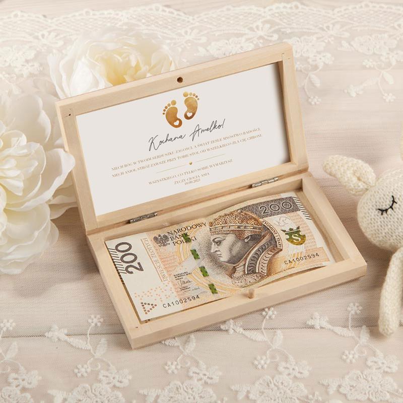 Pudełko na pieniądze na Chrzest Stópki