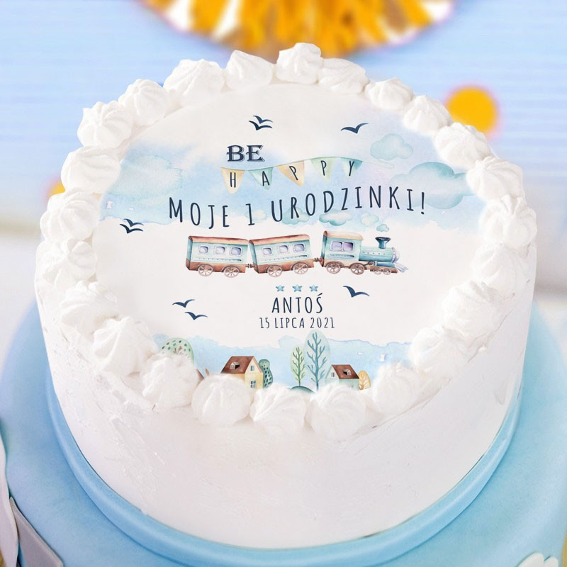 Opłatek na tort Lokomotywa