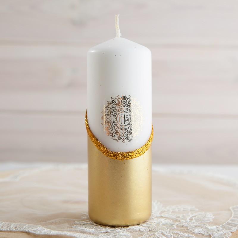 Świeca dekoracyjna na stół złota