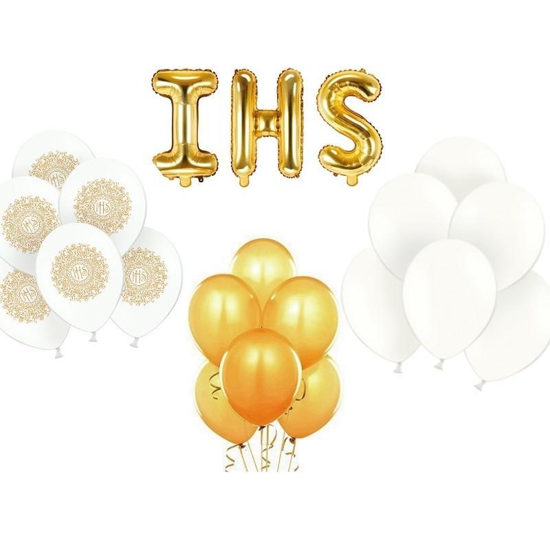 Zestaw balonów w biało-złotym kolorze na komunię