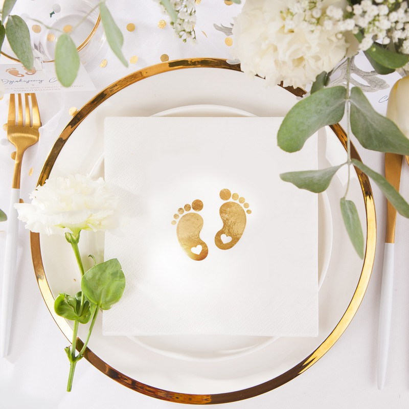 Zestaw ozdób na stół Złote Stópki